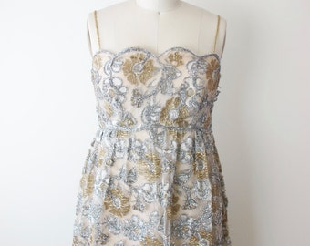 1960s BURKE-AMEY Couture Silver and Gold Evening Gown Wedding Dress