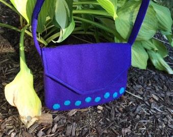 Purse Purple Turquoise Felted Girls Handmade
