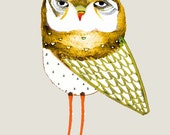 Art Poster Kids Illustration Print Owl Nursery Decor Children's Wall Art. The Gold Owl.