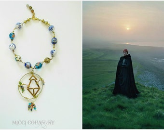 Sale / Royale Amulet Sphere~ Handmade Artisan Brass & Ceramic Glass, Pendant Necklace  ~ free Shipping US