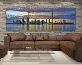 San Diego Skyline on Canvas, Large Wall Art, San Diego Print, San Diego art, San Diego Photo, San Diego Canvas, San Diego Panoramic, Sunset