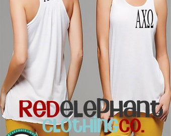 Alpha Chi Omega Tank Top, Personalized Sorority Gifts, Alpha Chi Omega Shirt, Monogram Razorback Tank Top, Racerback Shirt, Workout Tank
