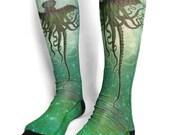 H.P. Lovecraft Cthulhu long socks - Kraken sea monster- Lovecraft - elder god  sublimation socks geekery  goth socks  gothic socks christmas
