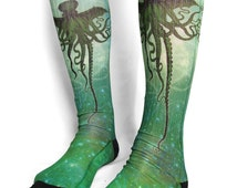 H.P. Lovecraft Cthulhu long socks - Kraken sea monster- Lovecraft - elder god - sublimation socks - geekery  goth socks  gothic socks