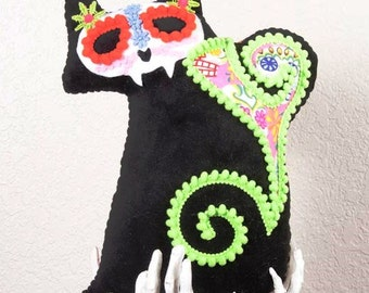 Calavera CATrina Day of the Dead Plush with Pink Sugar Skulls Lime Trim
