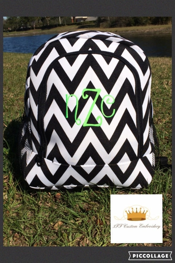 Black and White Chevron Personalized Backpack