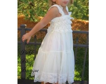 Ivory Lace Flower Girl Dress - Size 5 5T - Baby Wedding Dress - Rustic Flower Girl Dress - Cowgirl Dress - Country Flower Girl Dress