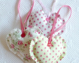 Cottage Chic Fabric Heart Ornament Pastel Green Pink Rosebuds gift for her  europeanstreetteam