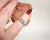 Turquoise Butterfly Ring Navajo Sterling Silver -Hand Made Inlaid Stone Ring- Vintage 70s Native American Silver Jewelry Size 3-1/2