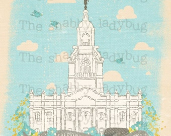 "Canvas Textured Tijuana Mexico LDS Temple ""Las Familias Son Eternas"" Instant Download 11x14"