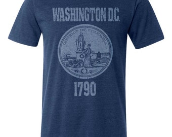 Washington D.C. Seal T-Shirt. Vintage Style Soft Retro New England Shirt Unisex Men's Slim Fit and Women's Tee