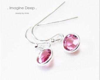Pink Crystal Earrings Sterling Silver Magenta Fuschia Rose Pink Tourmaline -like Swarovski Crystal Dangle Earrings - 30% off SPECIAL
