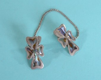 Vintage 1950s Abalone Sweater Clip - Taxco Sterling Silver - Bridal Fashions
