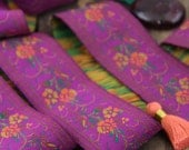 "Berry Blossom, Jacquard Trim, Sari Border, India, 1.5"" x 1 yard, Magenta, Pink, Purple Floral Craft, Decorating, Sewing Supplies, Decor"