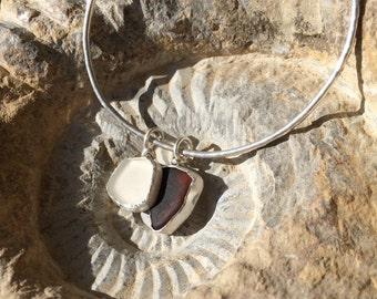 Sterling silver sea glass cuff