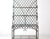 RESERVE antique bakery rack with fleur de lis, copper verdigris