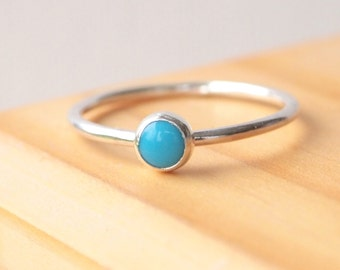Turquoise Ring - Stacking Rings Silver Turquoise - Birthstone Jewellery for December - December Birthstone Ring
