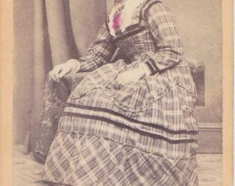 Elegant Lady- 1800s Antique Photograph- Victorian Woman- 19th Century Dress- J P Percival- Hackettstown, NJ- Hand Tinted CDV- Paper Ephemera