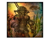 deep sea diver photography, photo collage, diver, fish, sepia,  brown, nature, ocean, undersea, surreal, 5x5, 8x8, 10x10 Photo Print