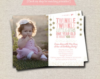 Twinkle Twinkle Little Star First Birthday Invitation, Twinkle Twinkle Little Star invite, pink gold chalkboard
