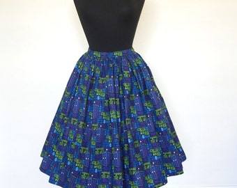 Doctor Who TARDIS Print Gathered Skirt with Pockets- Ready to Ship!