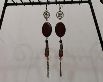 Dangling wood, filigree and crystal earrings