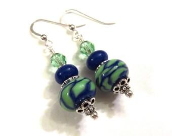 Blue & Green Swirl Lampwork Earrings, Blue Lampwork Earrings, Green Lampwork Earrings, Lampwork Jewelry, Blue Earrings, Green Earrings