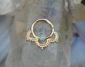 Tribal Septum Ring - Septum Piercing - Septum Jewelry - Septum Nose Ring -  14K Solid Yellow Gold Septum Ring Set With a 2mm Opal