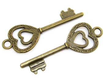 Bronze Charms : 10 Antique Bronze Heart Skeleton Keys | Brass Ox Heart Key Pendants | Wedding Keys -- Lead, Nickel & Cadmium Free 18911.J1D