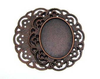 Pendant Setting : 3 Antique Copper Oval Cabochon Settings / Cameo Settings 35mm x 41mm -- Lead & Nickel free H2E
