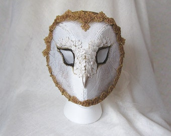 Barn Owl Mask - Handmade Wearable Art