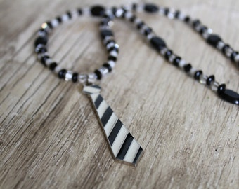 50% OFF CLEARANCE / Black and White Necktie Necklace and Earring Set / Black and White Striped / Gifts for Her / Unique Jewelry / Fashion
