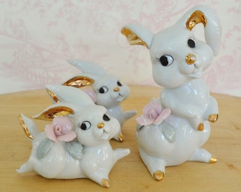 Vintage Set of Three Rabbit Figurines with Flowers by Thames Japan