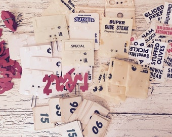 Lot of Vintage Grocery Store Deli Price Tag Signs and Numbers