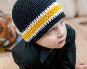 Pittsburgh Steelers Football Beanie Hat/Black, Gold and White Beanie Hat (fits baby to adult)