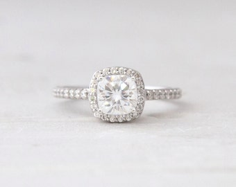 Square Cushion Forever One Moissanite Conflict Free Diamond Halo Engagement Wedding Ring LCDH024