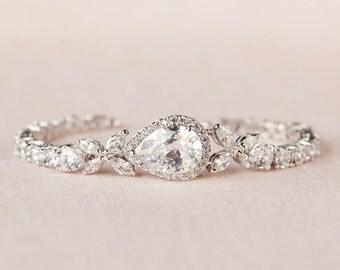 Crystal Wedding Bracelet, Bridal bracelet, Swarovski crystal, Rose Gold,  Wedding Bridal Jewelry, Ariel Bracelet
