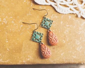 eclectic boho teardrop earrings.