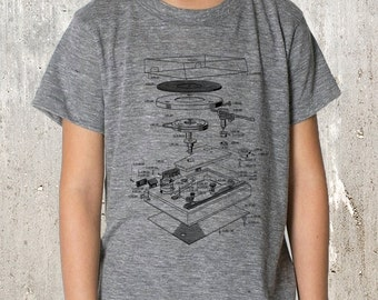 Kid's T-Shirt - Vinyl Turntable Diagram - Youth TriBlend T-Shirt