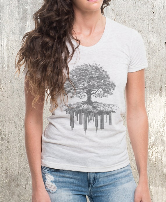 Women's T-Shirt  - Tree and Crumbling City - American Apparel - Available in S, M, L, XL