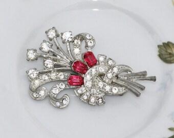 TRUE Vintage Art Deco Rhinestone Brooch or OOAK Hair Comb,Bridal Hair Comb,Silver Ruby Pink Rhinestone Floral Spray,Pot Metal,Great Gatsby