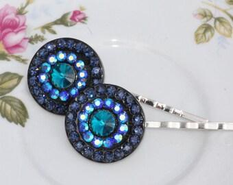 Vintage Style Navy Sapphire Blue AB Rhinestone Bobby Pins,Aurora Borealis,Rainbow,Blue Black,Hair Pin Pair,Set of Two,Gift,Carnival