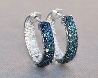 NEW Genuine Blue Diamond Pave Hoop Earring,Crystal Clear CZ Gemstone Hoop,Sterling Silver,Blue Diamond Earring,Birthstone,Navy Sapphire Blue
