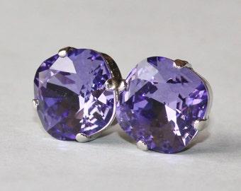 NEW Swarovski Tanzanite Purple Stud Earrings,Deep Purple Blue Cushion Stud,Rounded Square,Swarovski Stud Earrings,Rhinestone,Large,Weddings