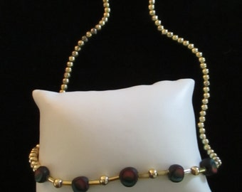 Vintage Necklace Beaded Necklaces Costume Jewelry Gold Tone Glass Beads Bugles Handstrung Multi Colored Bead YourFineHouse SHIPSWORLDWIDE