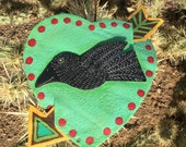 Raven / Crow Heart  - Metal Salvage - Folk Art  - Arrow - Original By Cathy DeLeRee