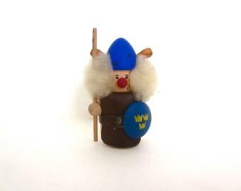 Vintage Scandanavian wood viking figurine, Mid century Nordic wooden doll