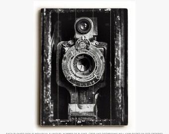 Wood Sign: Black and White Kodak Wood Plank, Industrial Decor, Vintage Kodak Camera, Photographer Art, Rustic Office Art.