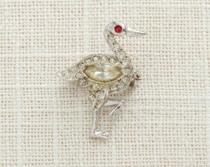 Silver Rhinestone Bird Brooch Vintage Art Deco Crane Swan Red Broach Costume Jewelry   Vtg Pin 16B