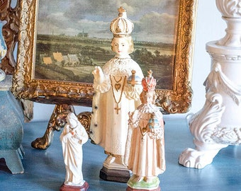 Vintage Trio Religious Statues, Infant of Prague, Sacred Heart Jesus